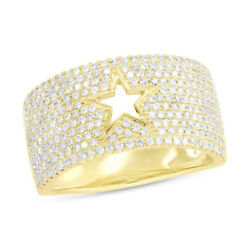 0.80ct 14k Yellow Gold Natural Diamond Wide Cut Out Star Fine Fashion Ring Band