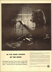 1947 vintage Ad BELL TELEPHONE Pretty Switchboard Operator Night Shift 072418