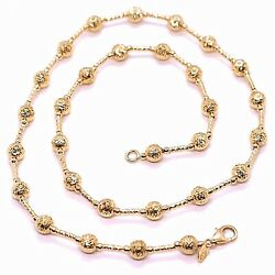 18k Rose Gold Chain Finely Worked 5 Mm Ball Spheres And Tube Link 15.8 Inches