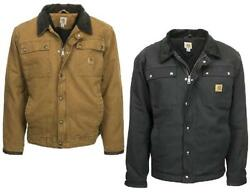 Fcarhartt Tractor Jacket Coat Flannel Lined Security Pockets Duck Brown Or Black