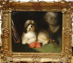 Large 19th Century Tibetan Terrier Dog Portrait Antique Oil Painting Maud EARL