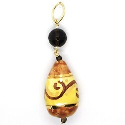 18k Yellow Gold Pendant Smoky Quartz Pottery Ceramic Drop Hand Painted In Italy