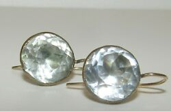 LARGE CLASSIC ANTIQUE GEORGIAN 18 CT GOLD EARRINGS WITH ROCK CRYSTAL GEMS