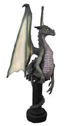 Dragon Green Sitting On Post Mythical Prop Resin Decor Statue