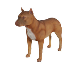 Dog Pitbull Pit Bull Terrier Male Brown Standing Resin Statue Display Prop