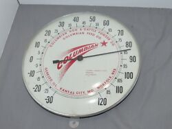 Vintage Columbian Hog And Cattle Powder Feed Company Glass Pam Thermometer Mo Ne I