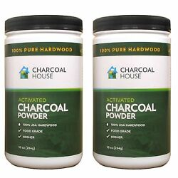 2 jugs 10oz each Hardwood Activated Charcoal Powder Internal Poultices Detox