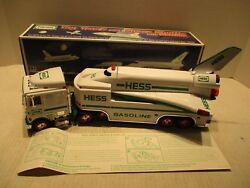 1999 Hess Truck And Space Shuttle With Satellite Toy Gas Station Promo