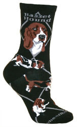 Basset Hound Black Large Cotton Socks