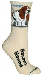 Basset Hound Natural Color Cotton Ladies Socks