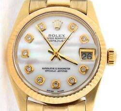 Rolex Datejust President 6827 Midsize 18K Yellow Gold Watch White MOP Diamond