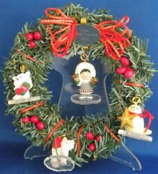 Hallmark Little Frosty Friends 4 Miniatures And Memory Wreath 1990 Clear Stand Dmg