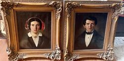 Early 19th C. American Husband Wife Family Portrait Pair Oil On Canvas