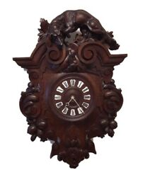Antique French Carved Oak Renaissance Hunt Style Wall Clock 3and039 Ft Tall
