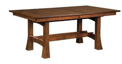 Amish Arts And Crafts Trestle Dining Table Solid Wood Rectangle Jackson
