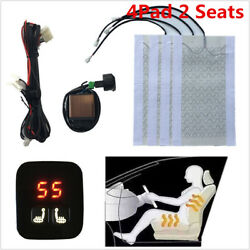 Universal Car 12V 2 Seats Carbon Fiber Seat Heater Pad +Digital Display Switch