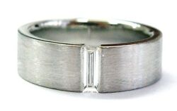 Platinum Baguette Diamond Wide Band Ring .35ct Size 10.5