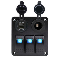 3 Gang Waterproof USB Toggle Automotive Switch Panel LED Car Marine Rocker BoatA