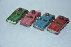 4 Pc Vintage Friction Colorful Small/penny Car Litho Tin Toy