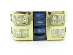 14kt Yellow Gold Genuine White Diamond And Blue Sapphire Channel Set Menand039s Ring