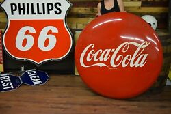 """48"""" 1950's Coca-Cola Button Nice shape Soda POP Gas Oil Station Advertising REAL"""