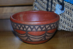 Vintage Native Zuni Sienna Red Clay Pot Bowl Hand Painted Small New
