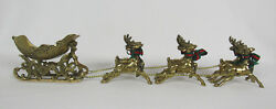 The Vtg 1960s Brass Santa Sleigh And 6 Reindeer Red And Green Bows 20 1/2 Long