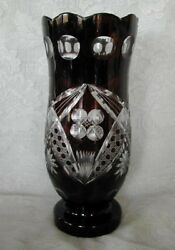 Impressive Collectible Large Dark Ruby Red Blown Glass Hand Cut-to-clear Vase