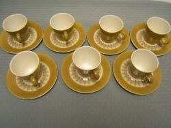 Homer Laughlin Retro Malibu Pattern Lot Of 7 Cups And Saucers Vgc