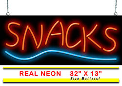 Snacks Neon Sign | Jantec | 32 X 13 | Convenient Store Gas Station Candy Chips
