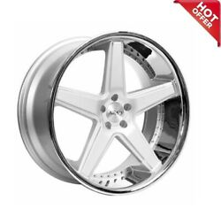 Fit S550 Sl 22 Staggered Azad Wheels Az008 Silver Brushed W Chrome Popular