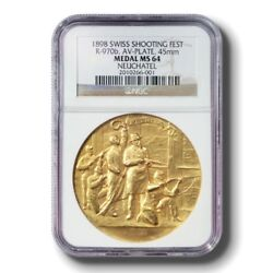 Medal Swiss Shooting Festival Neuchatel 1898 Gold Plated Ms 64 Ngc