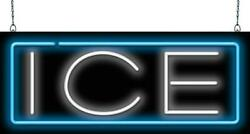 Ice Neon Sign | Jantec | 32x 13| Cold Drinks Cooler Beer Bar Soda Fountain Bag