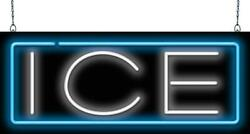 Ice Neon Sign   Jantec   32x 13  Cold Drinks Cooler Beer Bar Soda Fountain Bag