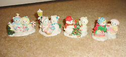 Cherished Teddies Snowfall Of Friendship Le Hamilton Collection Set Of 4 Winter