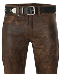 Leather Trousers Antique Leather Pants New Leather Jeans Brown Lederjeans Braun