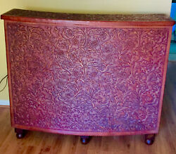 Peruvian Hand Tooled Handmade Leather Bar With Intricate Floral Designs
