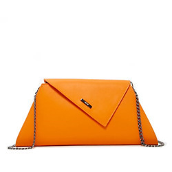 Orange Clutch Purse for Women - Evening Leather Bag Summer Clutches for Wedding