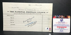 Certified Signed Carl Storck Extremely Rare Receipt Autograph D1950 Nfl Auto
