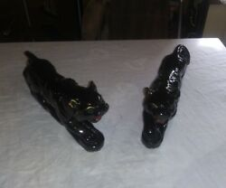 Pair of 1950's Ceramic BLACK PANTHERS Cats with Gold Trim and Je