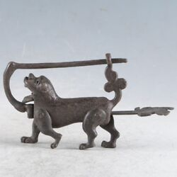 Rare Collectibles Chinese Old Style Brass Handmade Dog Lock With Key