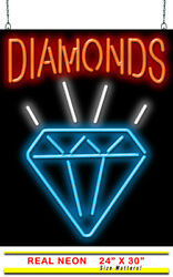 Diamonds Neon Sign   Jantec   24 X 30  pawn Shop Store Jewelers Rings Necklace
