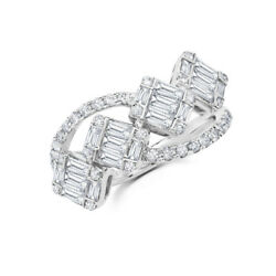 14k White Gold Baguette Diamond Ring Open Cocktail Wrap Womens 1.12 Ct Natural