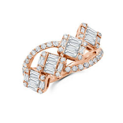 14k Rose Gold Baguette Diamond Wrap Ring Open Cocktail Womens 1.12 Ct Natural