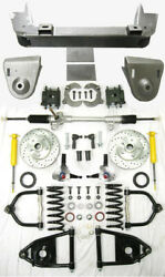 1936-48 Chevy Car Mustang Ii Manual Front End Suspension Kit Stock Slotted Rotor