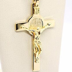 18k Yellow Gold Cross, Jesus And Saint Benedict Medal, Big 2.1 Inches, Italy Made
