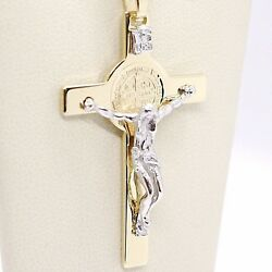 18k Yellow White Gold Cross, Jesus And Saint Benedict Medal Big 2.1 Inches, Italy