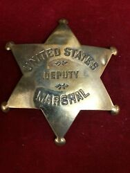 Badge United States Deputy Marshal Brass Star Police Lawman Old West