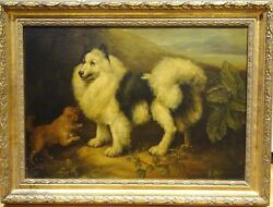 Large 19th Century English Black & White Dog Terrier Portrait James Northcote