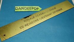 President Ronald Reagan Governor Vintage Brass Engraved Name Plate Door Plaque